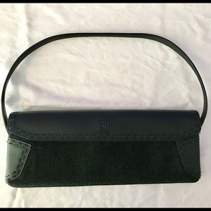 Small black and charcoal grey envelope bag.